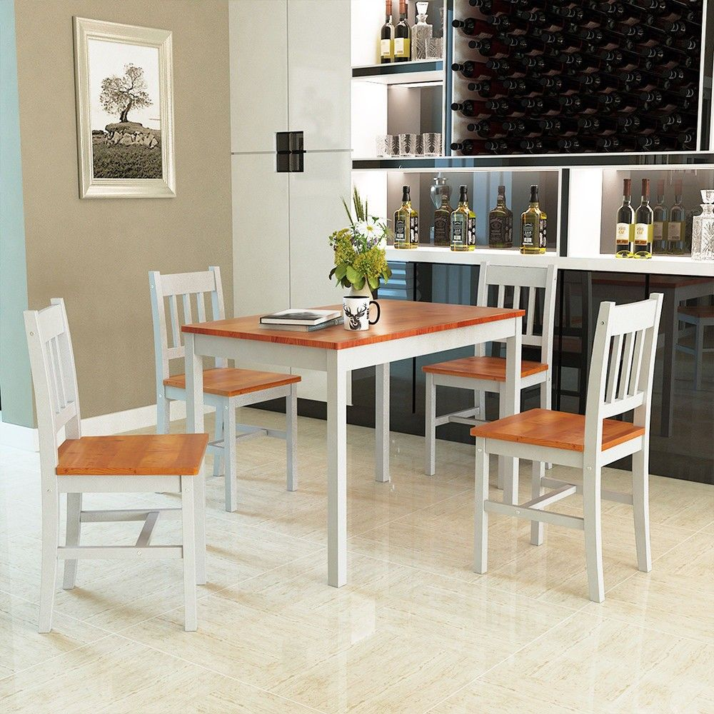 5 Pcs Wood #dining Chairs & Table Set  Furniture  Pinterest Brilliant Comfortable Dining Room Sets Decorating Inspiration