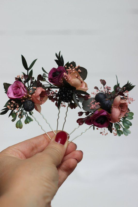 Set von 3 Haar Stifte Herbst Hochzeit Haarschmuck Braut Blumen Blume Haarspangen Blumen Haarnadeln Pfirsich Elfenbein Haarteil Brautjungfernkleider – Rebecca Bauer