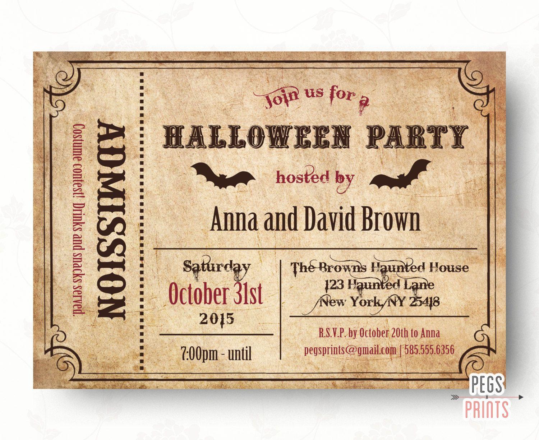 PRINTABLE Adult Halloween Ticket Party Invitation