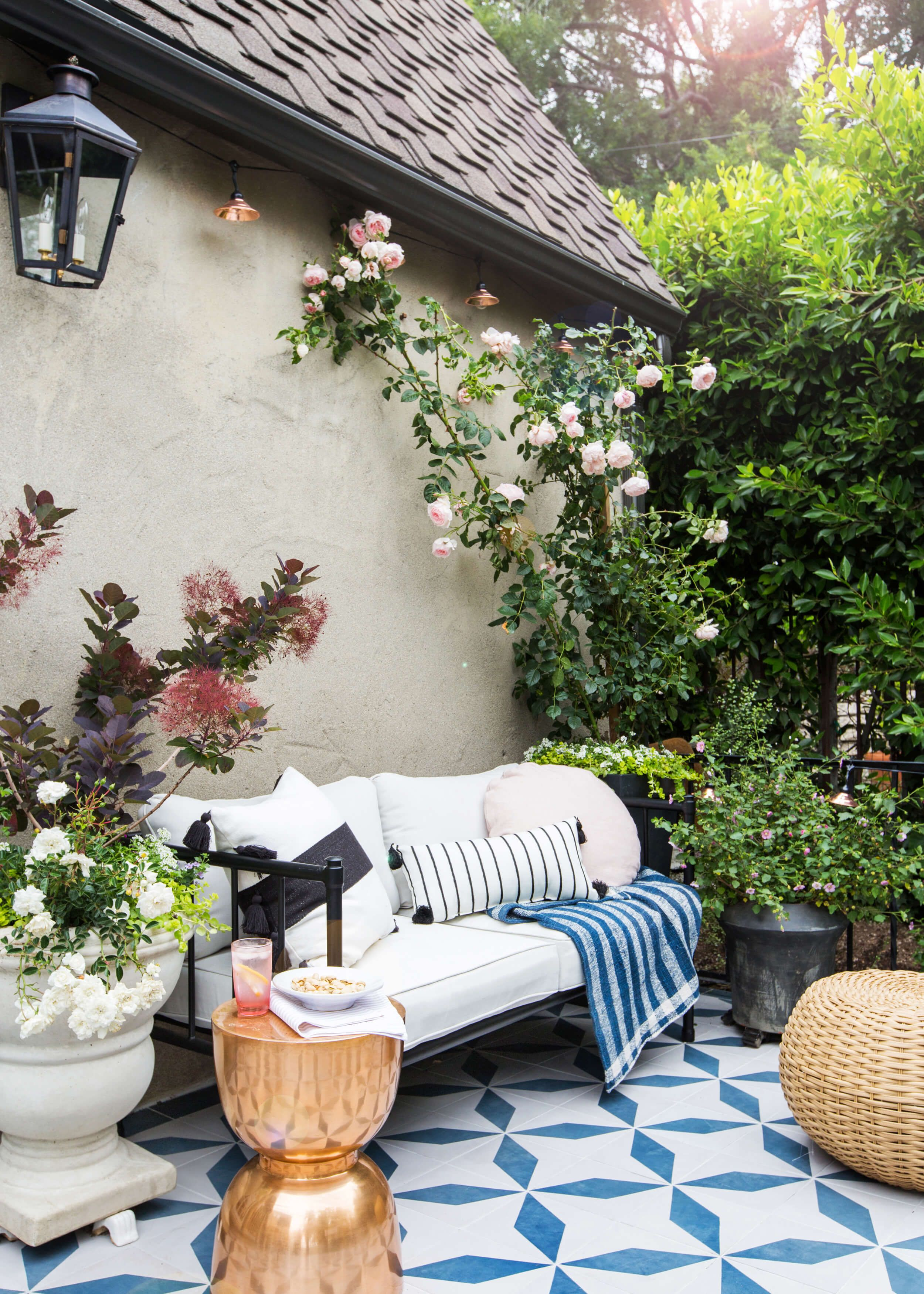 I Love This Garden Patio With The Moroccan Style Floor Tiles Gold