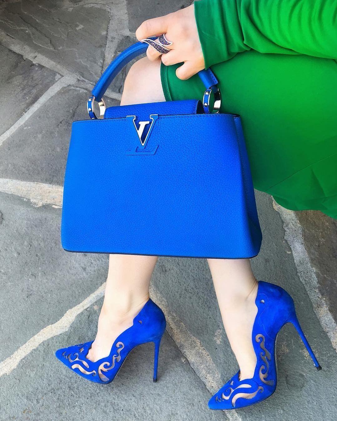 Louis Vuitton blue purse/high heels