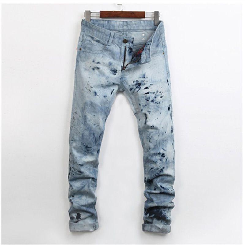 8943e778e92ef Cheap Nuevo diseñador moda Hombre de los Vaqueros impreso Hip hop rock  flacas Pantalones skateboard Casual