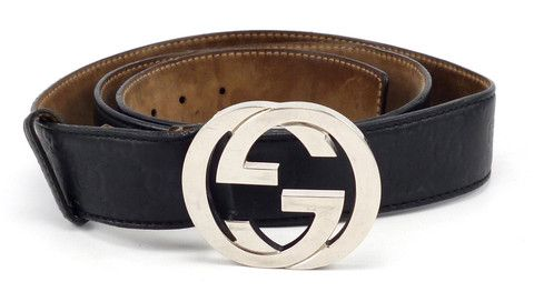 7eb94a17704 Gucci Mens Belt Size 44 110 Interlocking G Buckle Leather Strap 114984 Black   distinctivedeals  mensfashion