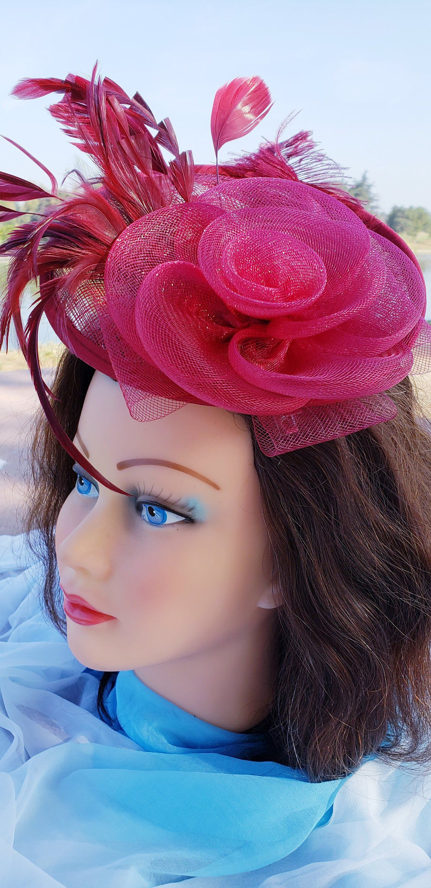 9f7d7c238504d Red Wine Sinamay Fascinator Derby Race Bridal Church Hat. Wedding Tea Party  Mini Hat.Costume Feather Hair Clip Head Accessory.Headpiece in 2018