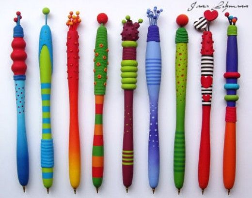 Wooden pen, covered with polymer clay by Jana Lehmann - ideas for tool handles