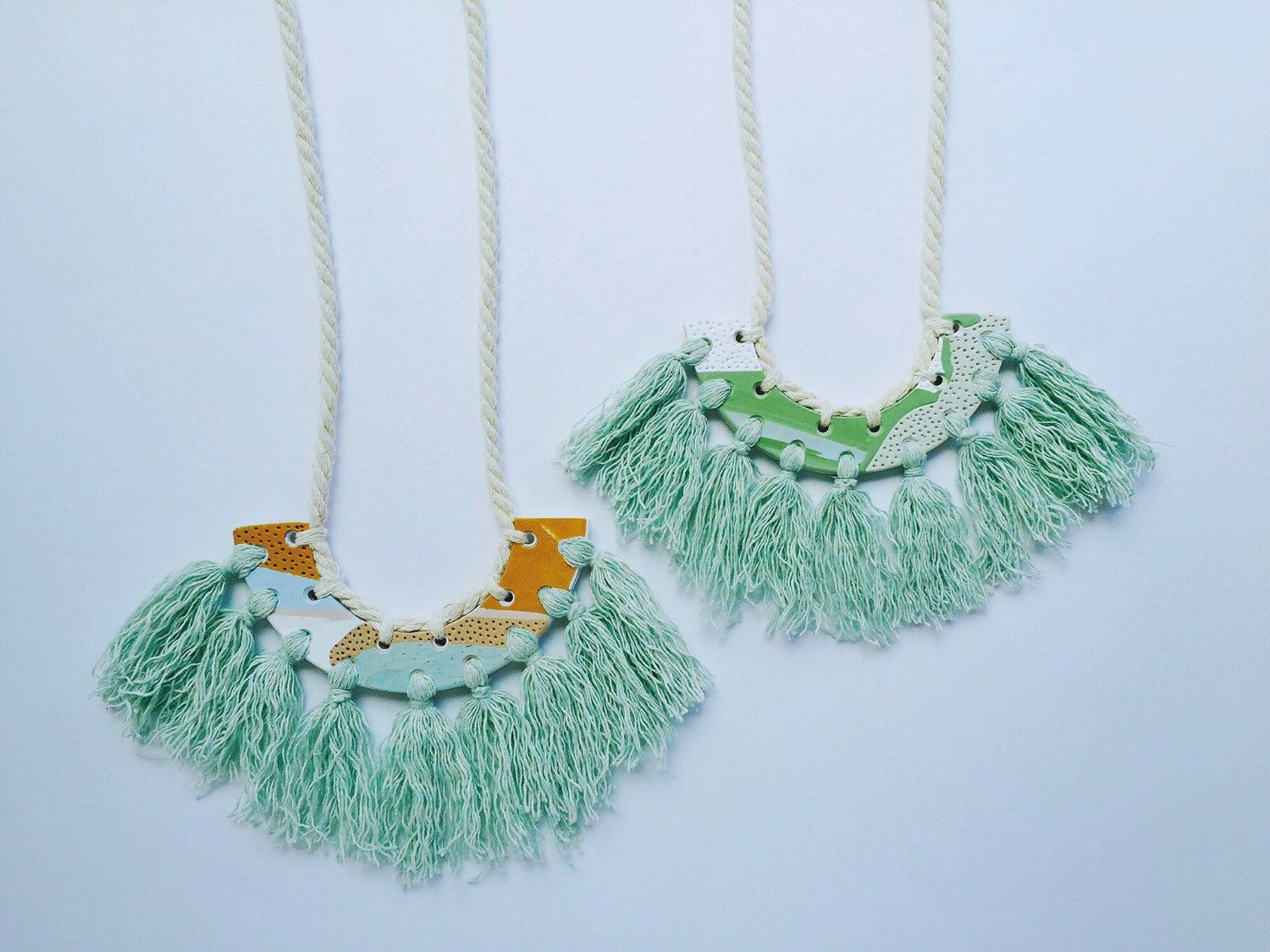 Kelaoke - Reversible Handmade Polymer Clay and Rope Necklaces