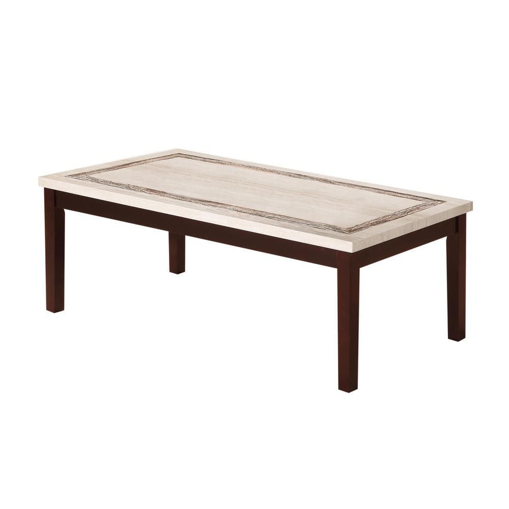 - ORE 17.5 In. Ivory Knox Faux Marbelized Granite Top Coffee Table