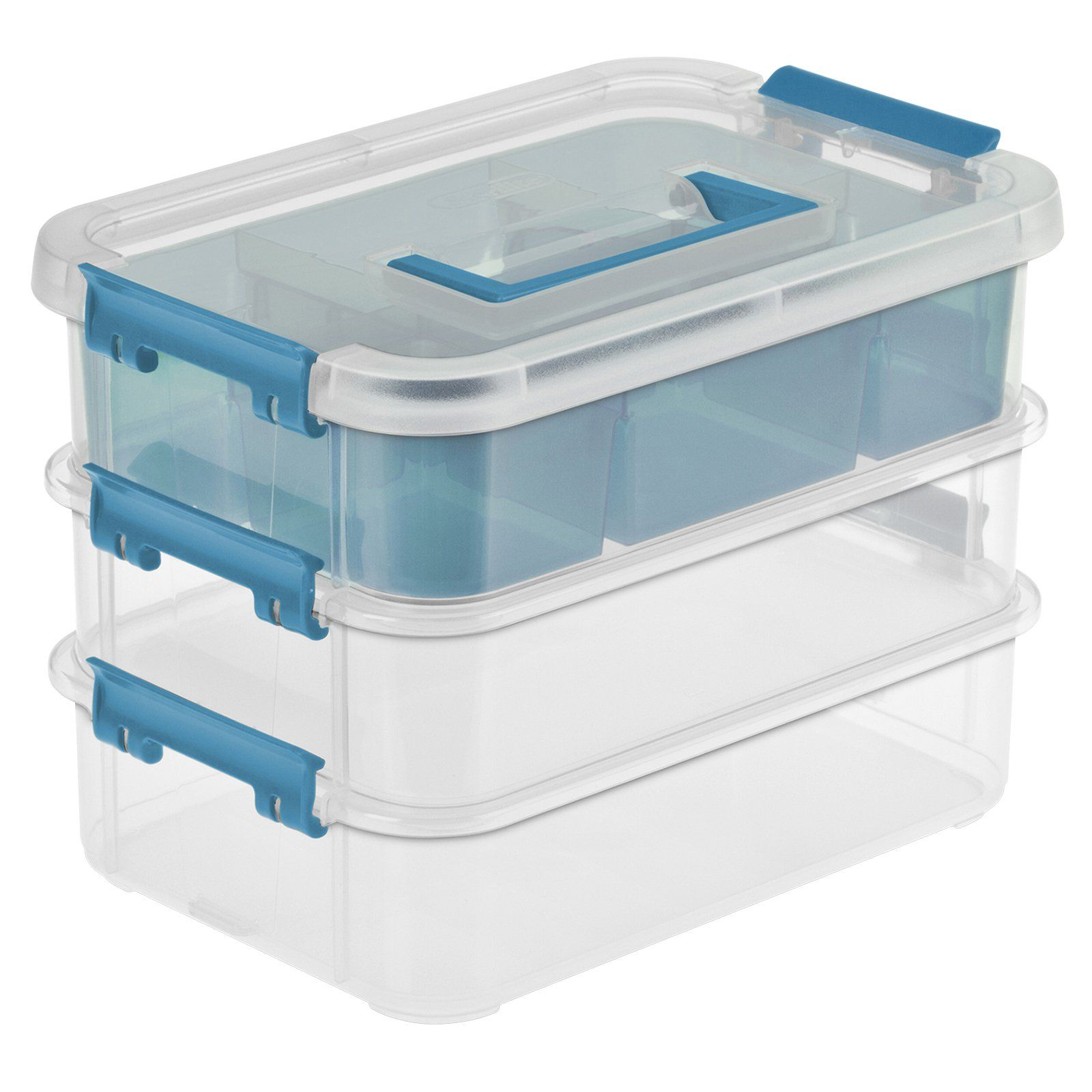 Double Tiers Clear Plastic Storage Box with Divider for Bead Pen Small Parts