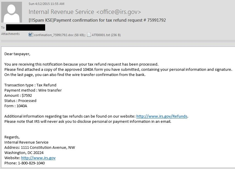 irs-tax-refund-spam Computer Security Threats Pinterest - tax resume sample