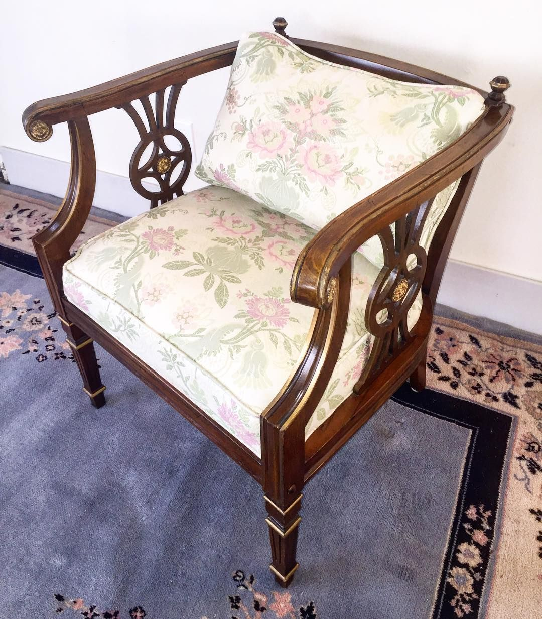 """Ornate wood frame with painted gold highlights. Spotless seat and back cushions with pink and green floral upholstery. 28""""tall 26""""wide 25""""deep seat is 19"""" from the floor. $55. Local Delivery available. #chair #seating #interiors #homedecor #floral #furniture #lunas_treasures by lunas_treasures"""