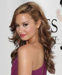 Demi Lovato Long Wavy Half Up Hairstyle Side Hairstyles