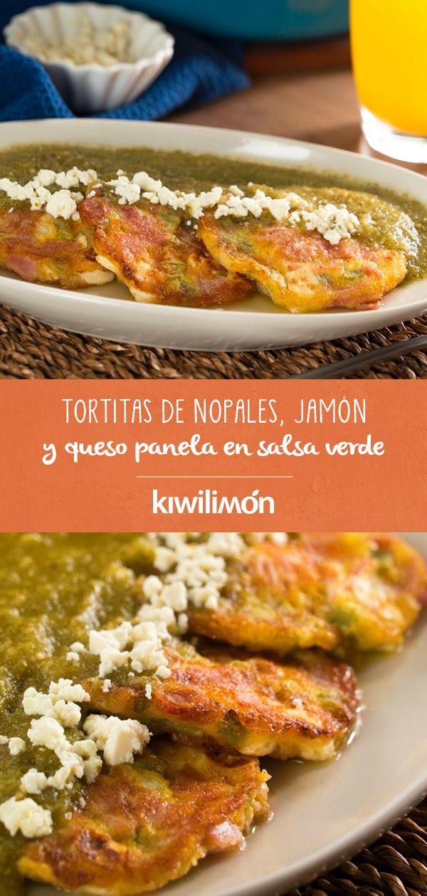 Tortitas de Nopales, Jamón y Queso Panela en Salsa Verde