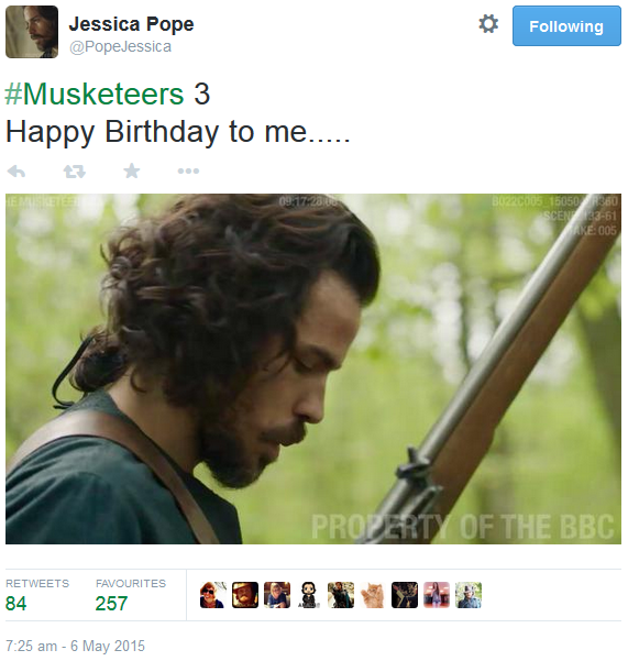 The Musketeers - Series III BtS filming via Jessica Pope's Twitter (Aramis) <--- And a very Happy Birthday to our wonderful Santiago Cabrera! <3