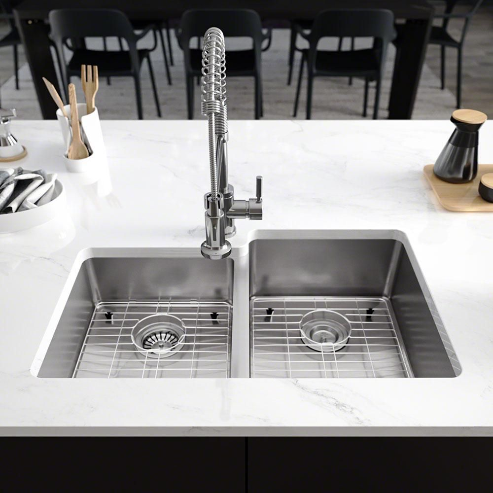 Rene Undermount Stainless Steel 31 1 4 In Right Double Bowl Kitchen Sink Brushed Satin Double Bowl Kitchen Sink Sink Kitchen Sink Accessories