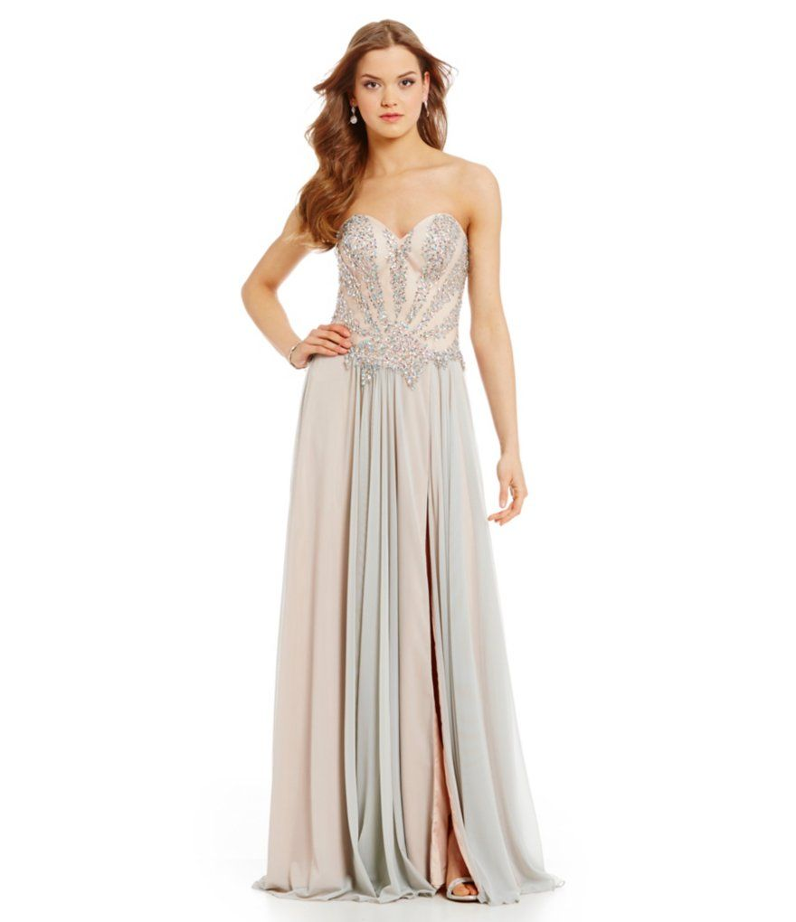 Silver Nude:Glamour by Terani Couture Beaded Corset Long Dress ...