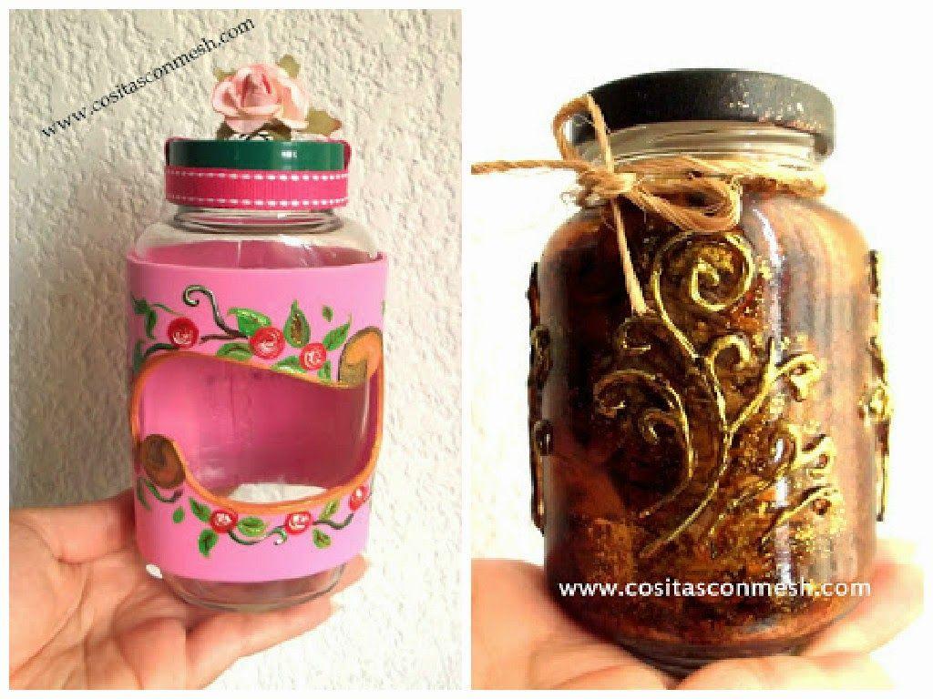 Manualidades frascos de vidrio reciclados con corazones - Aceite de linaza ...