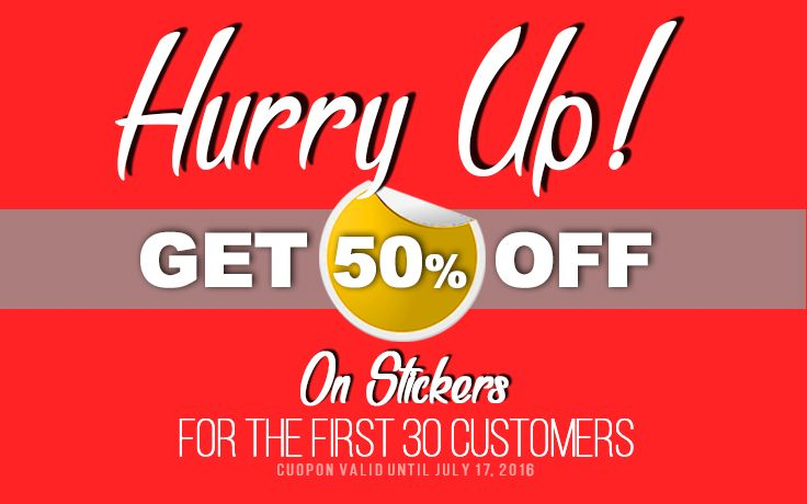 Get 50 off on sticker only for the first 30 customers order online · sticker designcaliforniausastickersprintingstickerdecalstypography