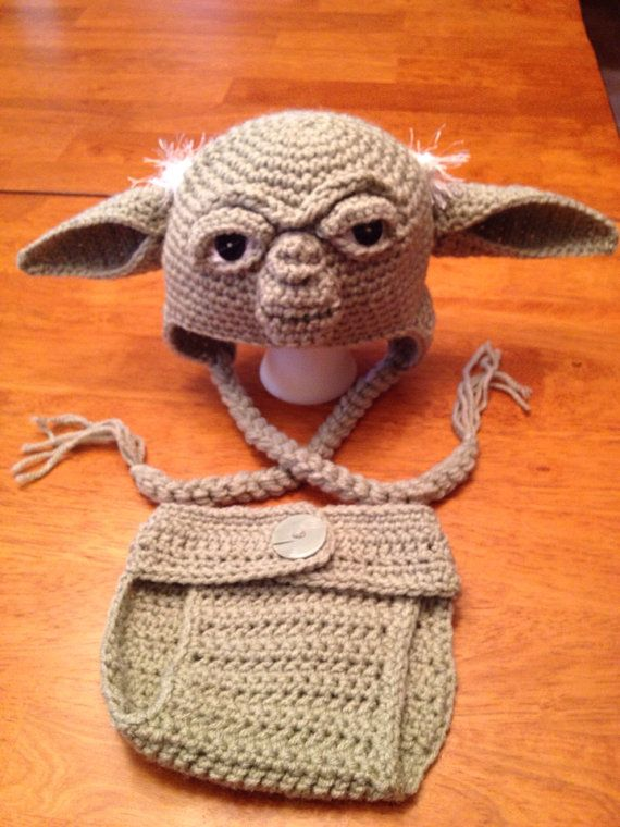 Crochet Newborn Yoda Hat and Diaper Cover Set on Etsy, $30.00 ...