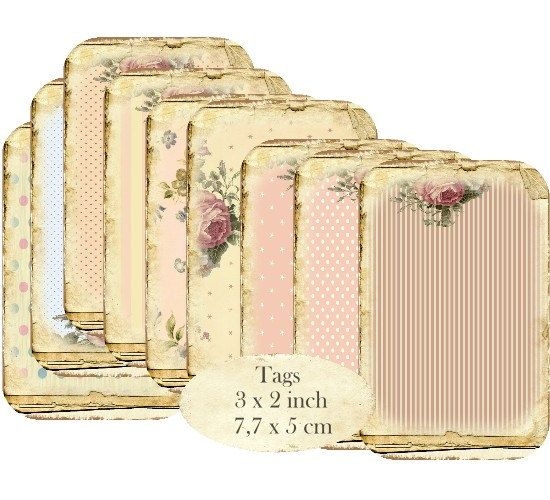 Shabby Chic Background Tags Stripes Polka Dots Rose Instant Download Digital Collage Sheet T118