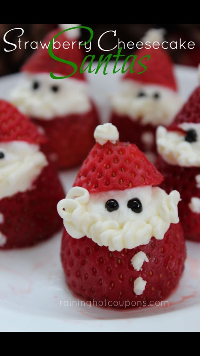 one of the most adorable and fun christmas treats appetizers desserts for you to make these santa strawberry cheesecakes are super easy to make - Easy Christmas Desserts Pinterest