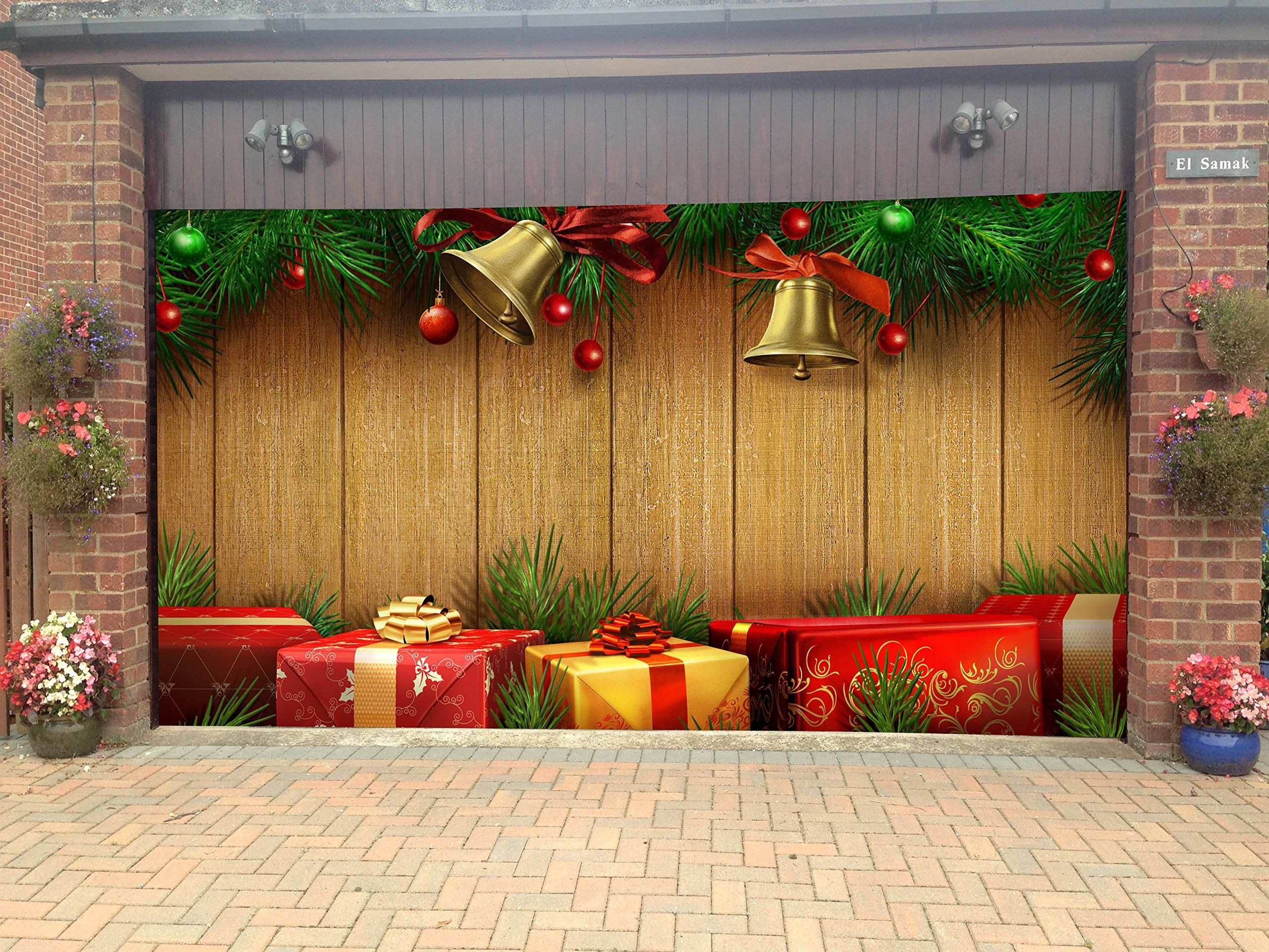 Merry Christmas Decorations Outdoor : Merry christmas garage door covers d banners holiday tree