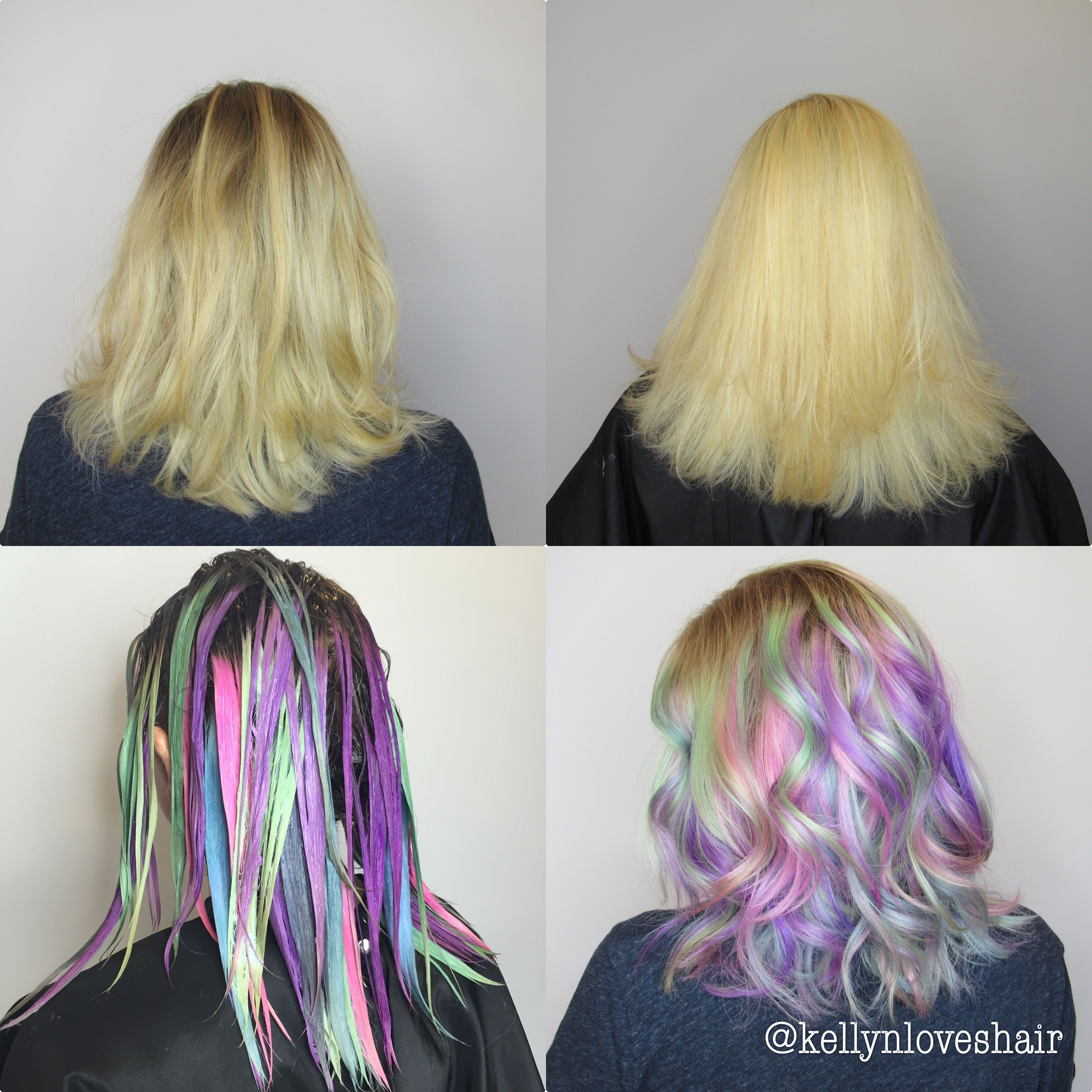 The stages of going all over vivid pastel hair color - by Kellyn ...