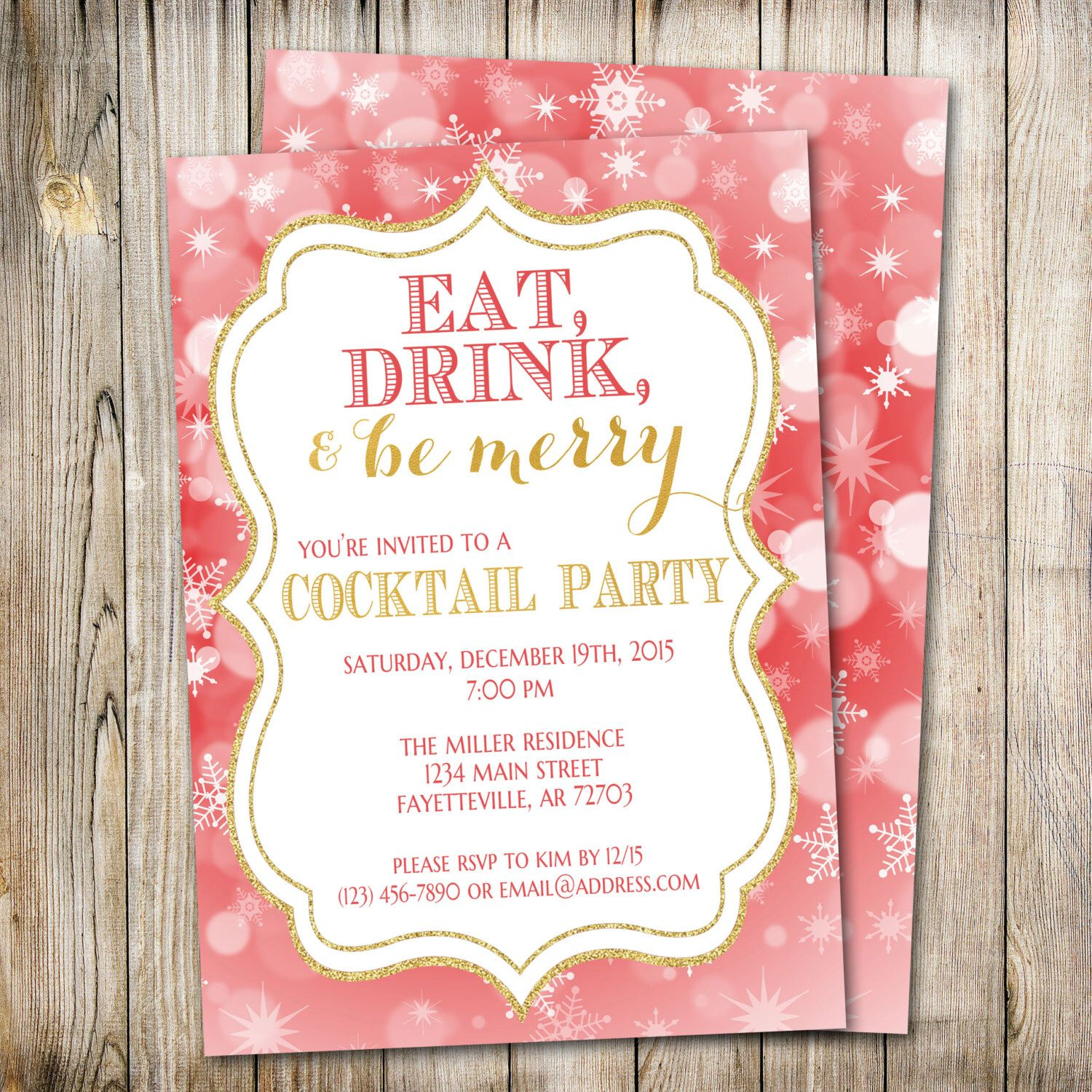 Eat Drink and Be Merry Invitation, Holiday Party Invitation, Christmas Invitation, Christmas Invite, Holiday Invitation, Printable by ThePaperTrailCo on Etsy https://www.etsy.com/listing/253101696/eat-drink-and-be-merry-invitation