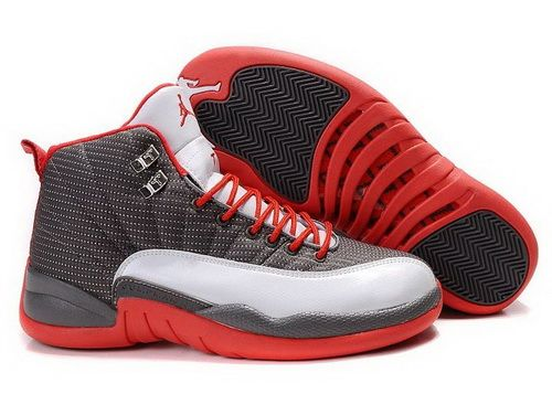 Air Jordan 12 Xii Grey White Red Mens Shoes-101  f0b96c237