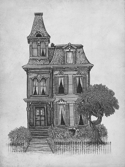 Haunted house art illustration drawing gebouwen Haunted house drawing ideas