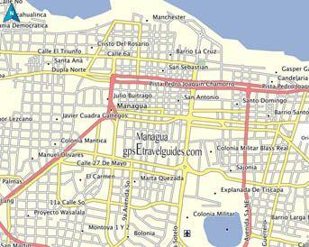 Nicaragua GPS Map Garmin Managua Streets gpsEtravelguidescom