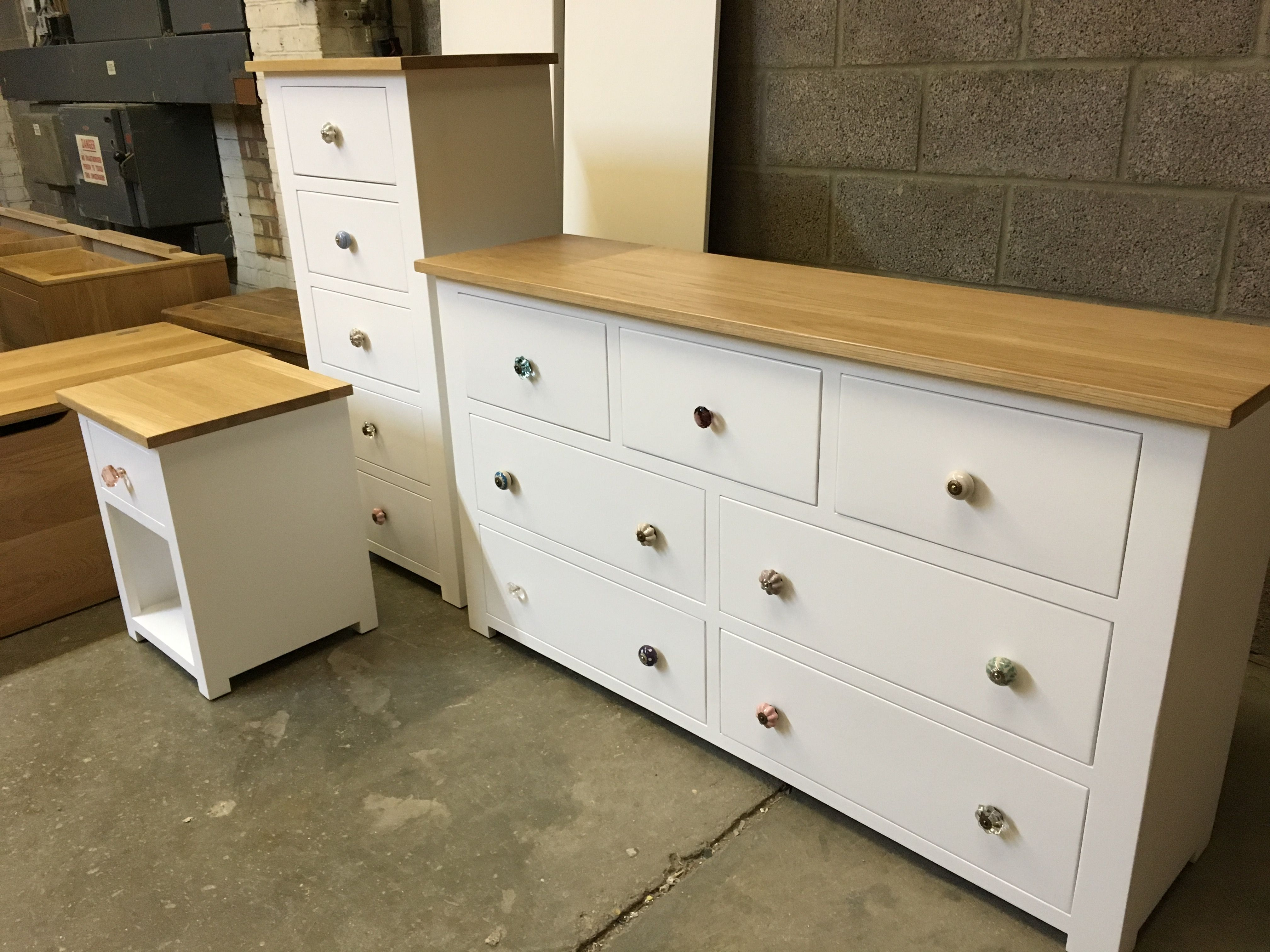 Multi Chest, Wellington And Bedside. All Painted White With Solid Oak Tops.