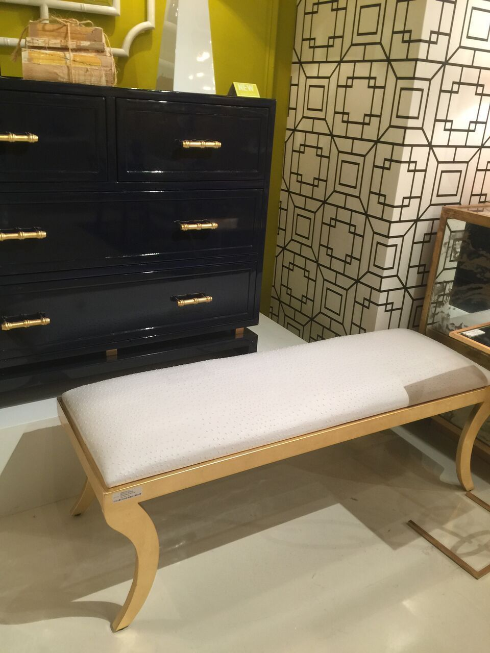 The Worlds Away Griffin Klismos Bench Is Reminiscent Of The Ancient Greek Klismos Style Its White Ostrich Uph Upholstered Seating Upholstered Bench Bench Set