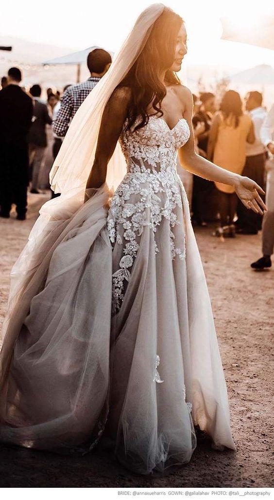 Ball Gown Tulle Light Grey Boho Wedding Dresses Sweetheart
