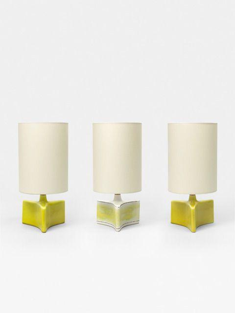 Denise Gatard; Glazed Ceramic 'Star' Table Lamps, 1955.