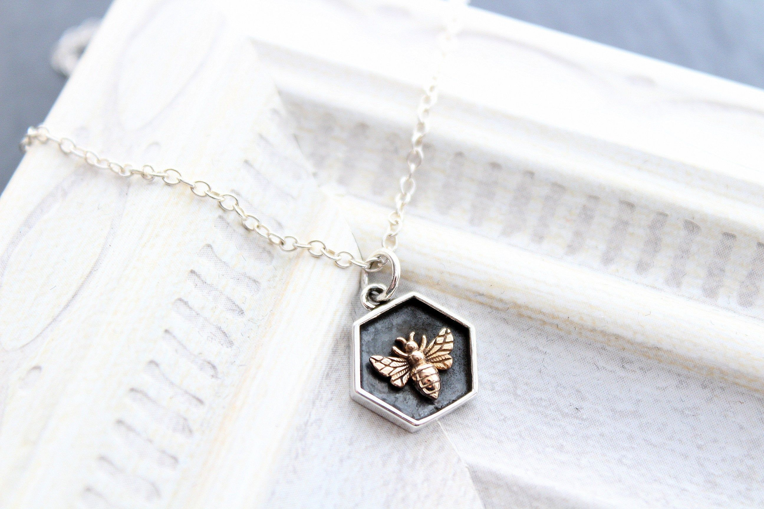 Bee necklace Honeybee jewelry Bee charm Delicate bee chain Small bee necklace Dainty gift Sterling silver bee pendant on chain