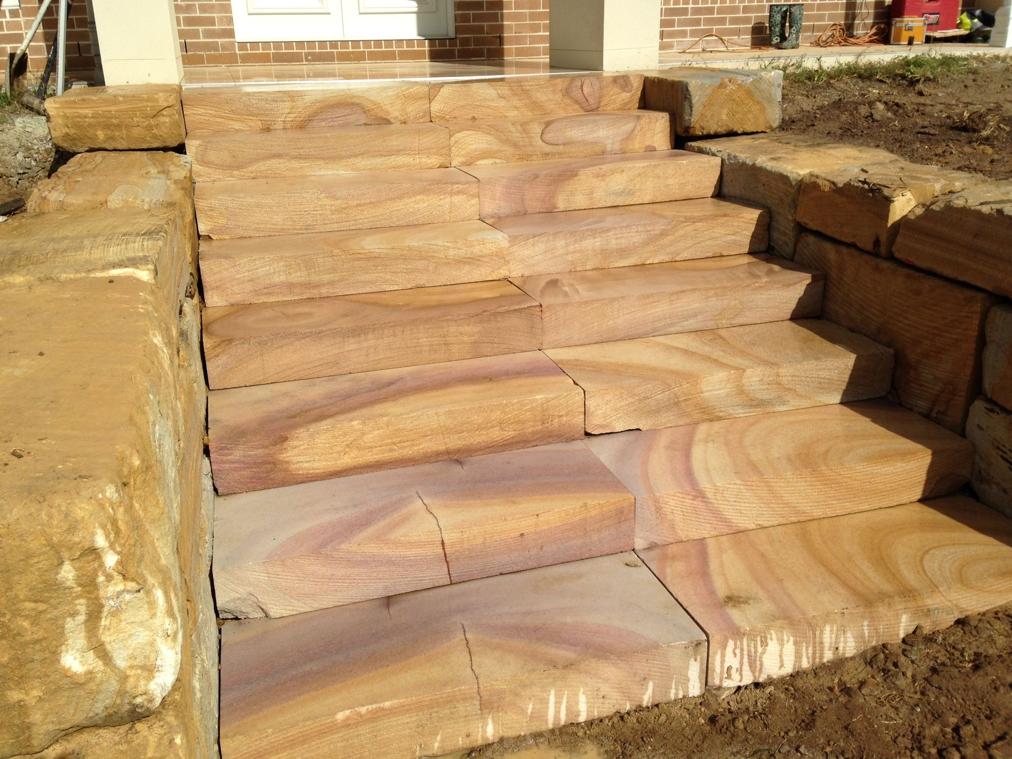 Diamond sawn sandstone steps for a front entrance ...