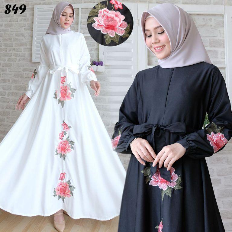 Gamis Hitam Putih Pakaian Wanita Womens Fashion White Dress