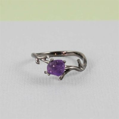 Handmade Black Raw Amethyst Ring