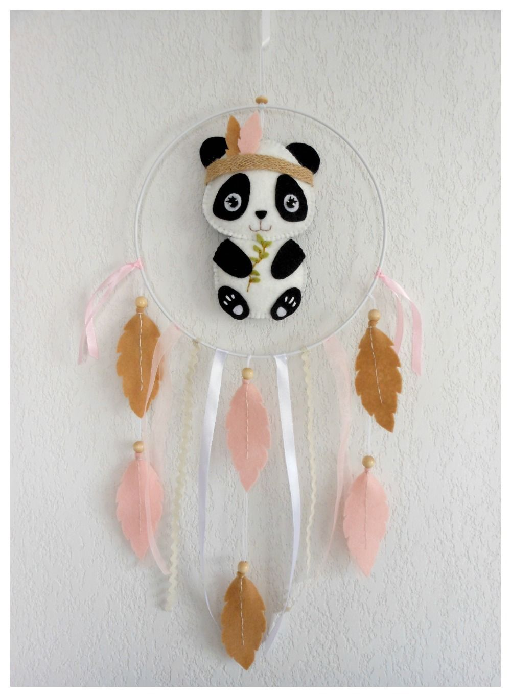 Mobile tribal baby dream catcher cat beige felt, baby nursery or