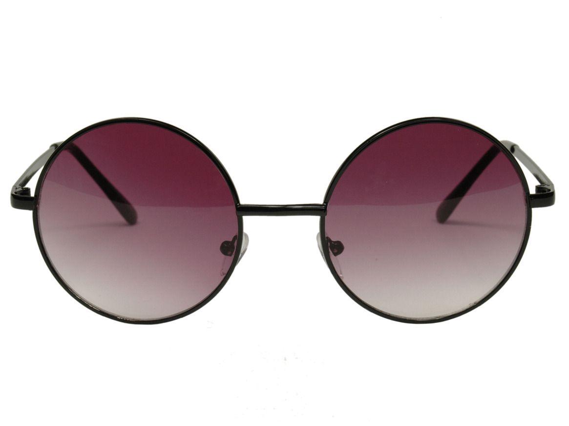 Janis 60s Large Round Purple Lens Black Hippie Sunglasses 063A  $10.99 via Rumplestiltskin