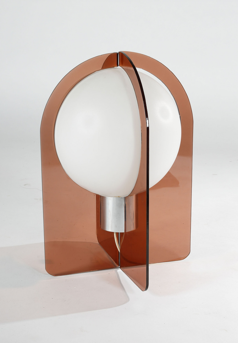 Anonymous Plexiglass Glass And Chromed Metal Table Lamp By Philips 1970s Luminaire Vintage Lampe Design Luminaire