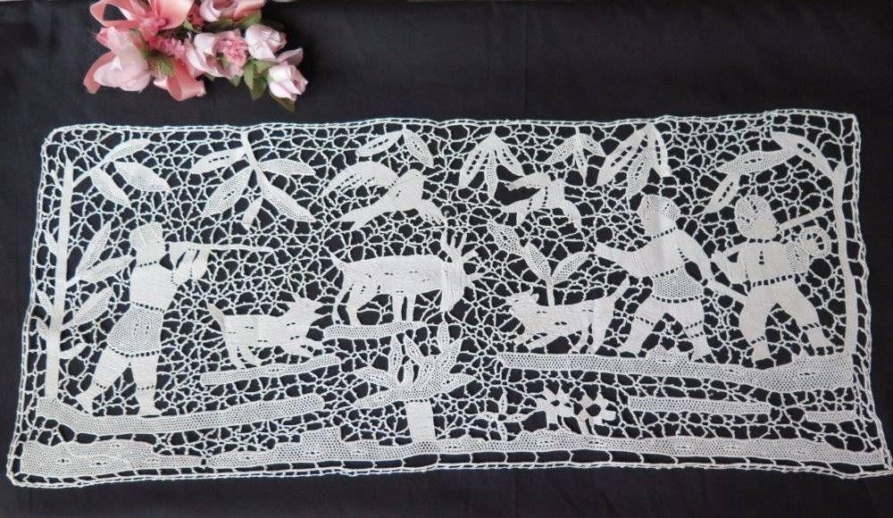 "Vintage Antique Figurals Animals Needle Lace Hunt Scene Panel Handmade 10 X 22"" | eBay"