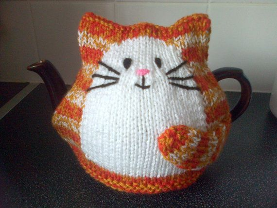 Hand Knitted Cat Tea Cosy For 2 Pint Large Tea Pot Knitting