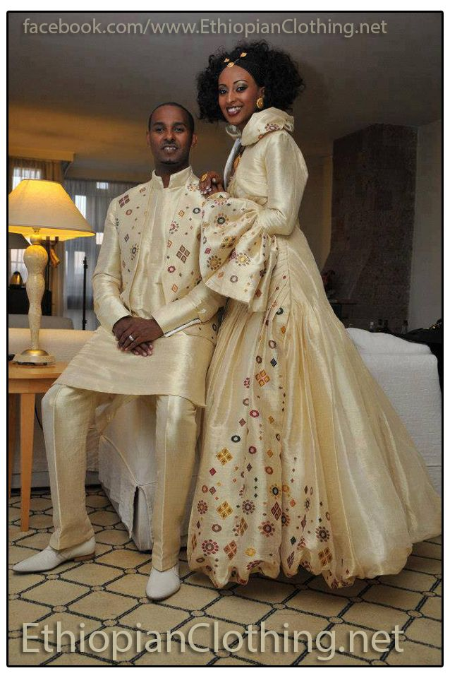 Elegant Ethiopian Wedding Dress Handmade Fabric