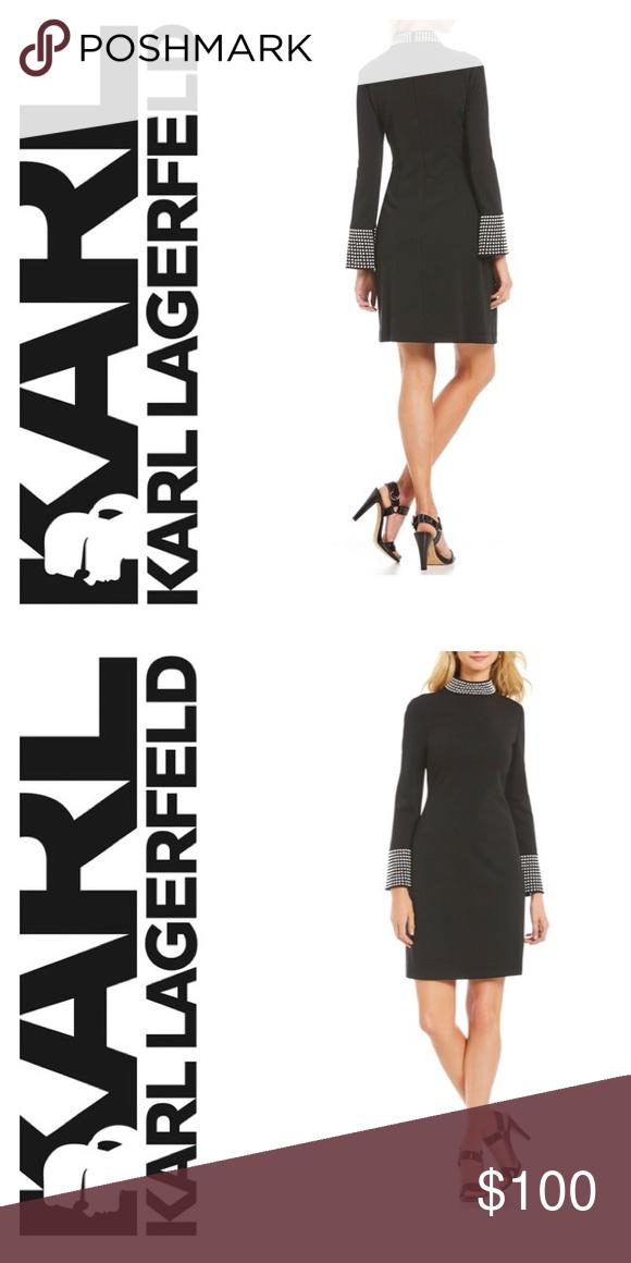 Karl Lagerfeld Paris Pearl Trimmed Mockneck Dress Boutique My Posh