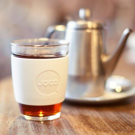 JOCO White 12oz Glass Reusable Coffee Cup - hardtofind.