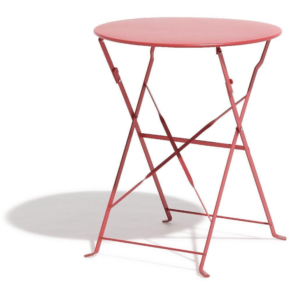 Table de jardin Rio pliante métal rose | INTEMPORELS D\'ÉTÉ ...