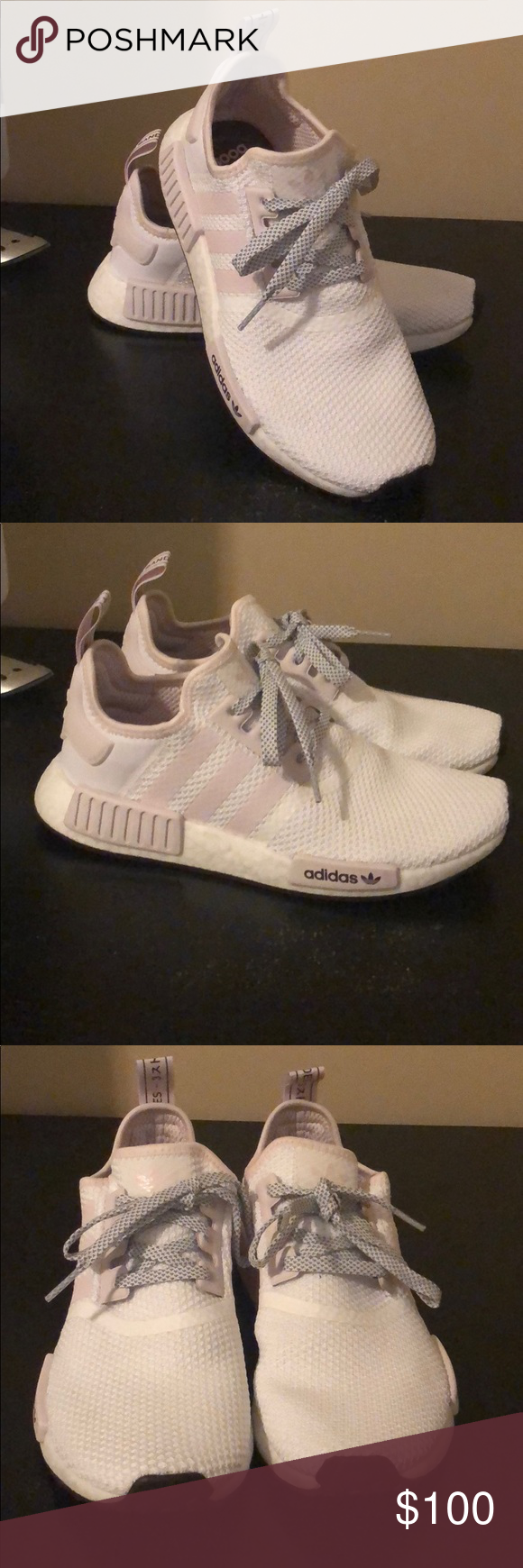 29bbc6ef4b2dc Adidas NMD R1 Women s Women s size 8.5 Cloud White Orchid Tint Night Red  Excellent Condition Worn twice adidas Shoes Sneakers