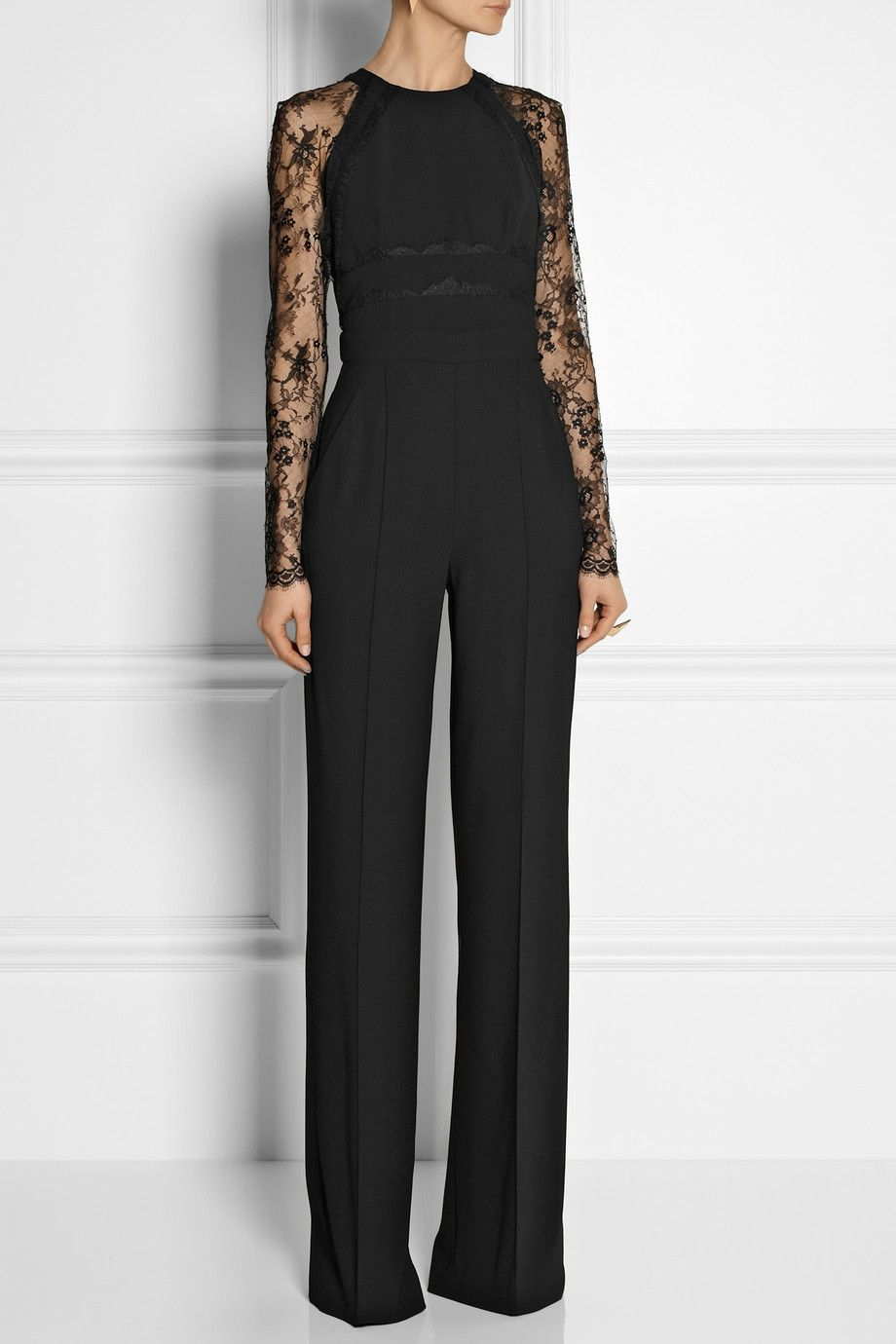 4a40f5440076 Elie Saab Paneled Lace and Crepe Jumpsuit in Black