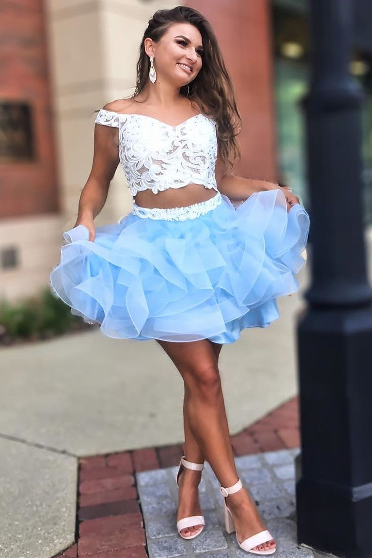 Two piece homecoming dress off the shoulder homecoming dress white